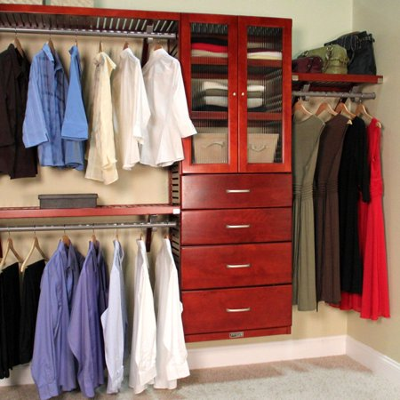Deluxe closet system door and drawer kit red mahogany for One day doors and closets reviews
