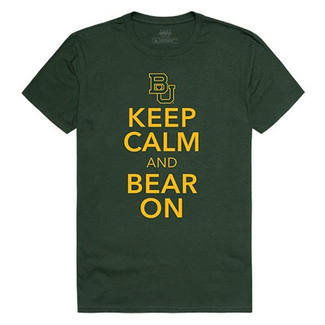 W Republic Apparel 523-110-033-03 Baylor University Keep Calm Tee for Men, Forest - Large - image 1 de 1