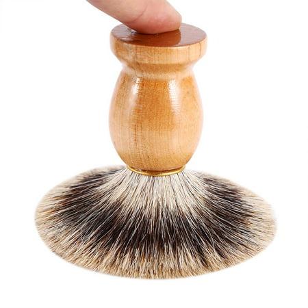 Qiilu 1Pc Men's Professional Wooden Handle Shaving Brush Faux Badger Hair Barber Beauty Tool, Barber Salon Tool,Shaving Brush - image 6 of 8