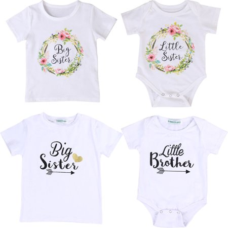 Newborn Baby Boy GirlS White Romper Tops Shirt Big Sister & Little Brother & Little Sister Outfits Set Clothes (Sith Outfit)