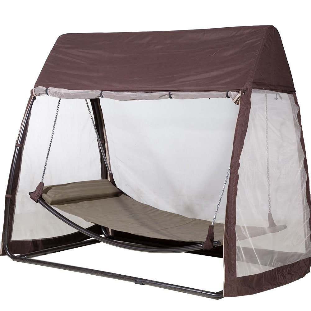 Incroyable Abba Patio Outdoor Canopy Cover Hanging Swing Hammock With Mosquito Net  7.6x4.5x6.7 Ft, Chocolate   Walmart.com