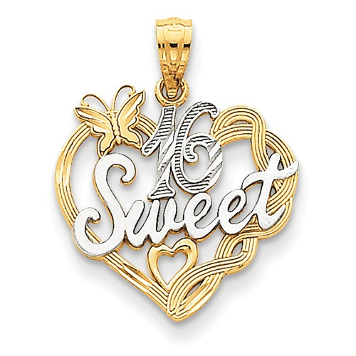 14K Yellow Gold and Rhodium Sweet 16 Pendant