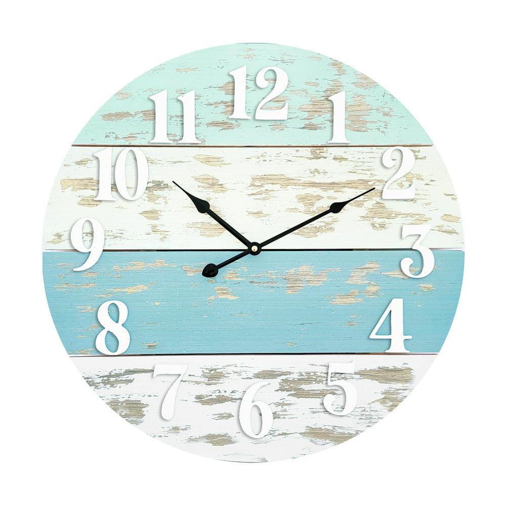 Mainstays Real Wood Plank Clock, Analog, Coastal, Modern Farmhouse, Cool Blue Finish