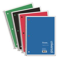 Wirebound Notebook, 1 Subject, Medium/College Rule, Assorted Color Covers, 10.5 x 8, 70 Sheets, 4/Pa