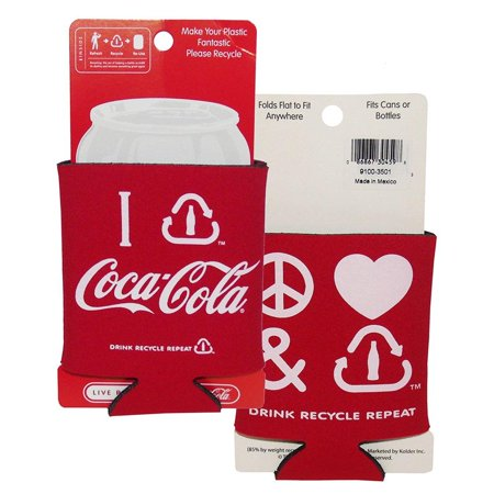 Coca-Cola Classic Can Insulator - Peace Love Recycle Set 2 (Coca Cola Recycle)