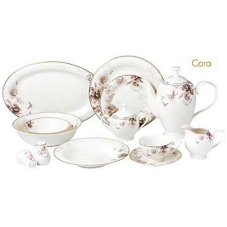 57 Piece Dinnerware Set-Bone China Service for 8 (Best Bone China Dinnerware)