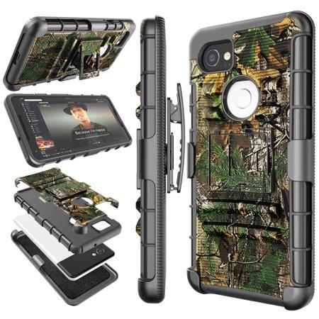 Google Pixel 2 XL Case, 2017 Google Pixel 2 XL Holster Clip, Tekcoo [Hoplite] Shock Absorbing [Camo Pine] Swivel Locking Belt Defender Heavy Full Body Kickstand Carrying Armor Camouflage Cases Cover