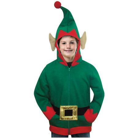 Elf Hoodie Child Halloween Costume, One Size, (7-10) - Kids Elf Costumes