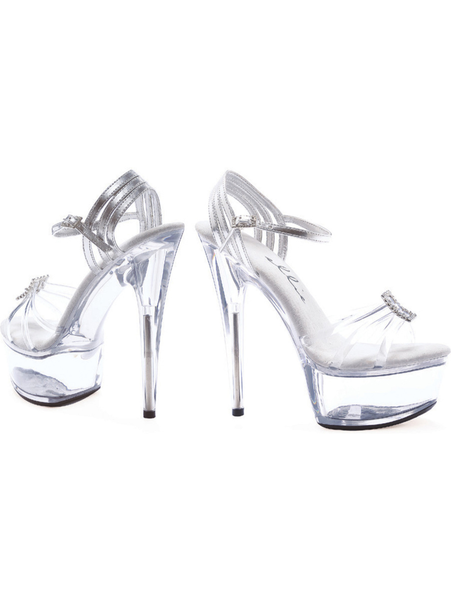 6 Inch Clear Open Platform Sandals Rhinestone Buckles Open Clear Toe Shoes 741ed0