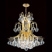 "Worldwide Lighting W83043g19 9 Light 1 Tier 19"" Gold Chandelier - Gold"