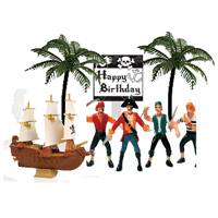 Pirates Cake Decoration Topper with Happy Birthday Plaque