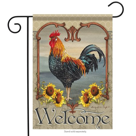 Rise Against Flag - Rustic Rooster Summer Garden Flag Early Rise Primitive Sunflowers 13