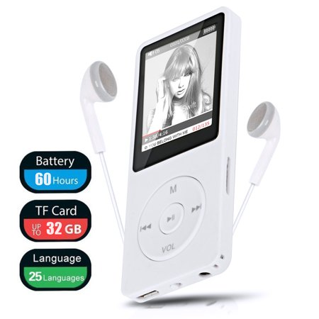 Mp4 Files Ipod (TSV MP3 MP4 Player, Support UP to 32GB TF Card, Portable Digital Music Player, Rechargeable Battery, Ultra Slim Large LCD Screen)