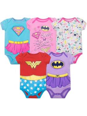 Warner Bros. Justice League Baby Girls' 5 Pack Bodysuits - Wonder Woman, Batgirl and Supergirl (Newborn)