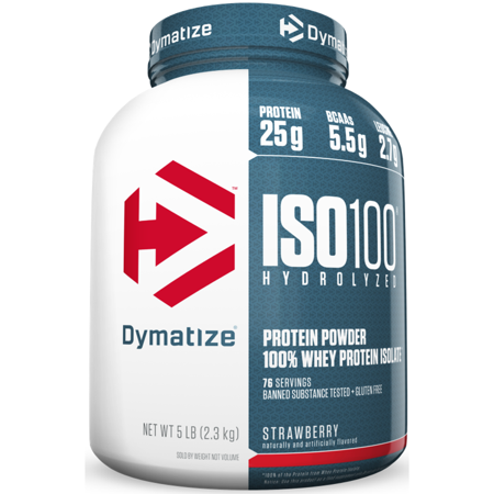 Dymatize ISO 100 Hydrolyzed 100% Whey Protein Isolate Powder, Strawberry, 25g Protein/Serving, 5 Lb