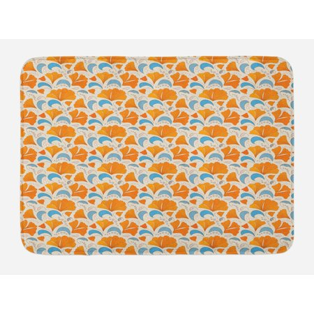 Leaves Bath Mat, Modern Floral Elements with Artistic Design Romantic Blossoms Petals, Non-Slip Plush Mat Bathroom Kitchen Laundry Room Decor, 29.5 X 17.5 Inches, Orange Blue and Beige, Ambesonne