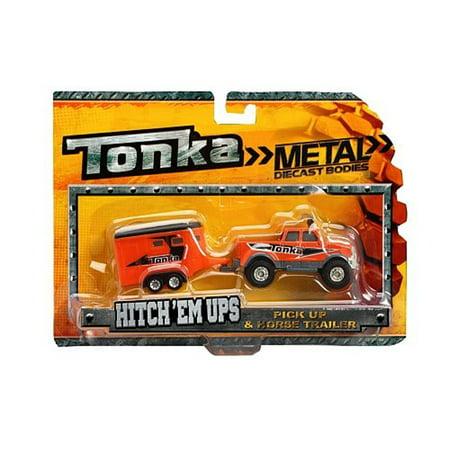 Tonka Die Cast Hitch Em Ups - 4 X 4 Haulers - Pick Up Truck & Horse Trailer