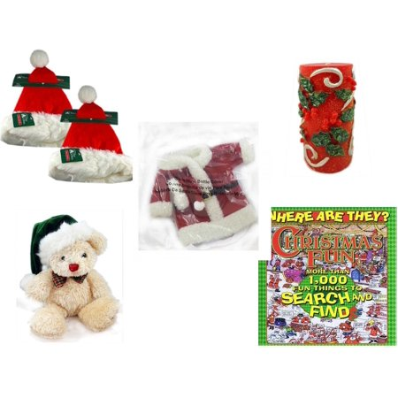 Avon Santa - Christmas Fun Gift Bundle [5 Piece] - Trim A Home Deluxe Santa Hat Adult Large Set of 2 -  Candle Holly Berry Pillar 3 x 6 - 2011 Avon Santa Outfit Wine Bottle Cover  - Dan Dee  Teddy Bear  7