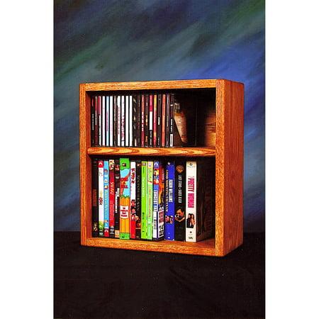 The Wood Shed Solid Oak Desktop / Shelf 26 CD and 22 DVD / VHS Tapes Media Rack ()
