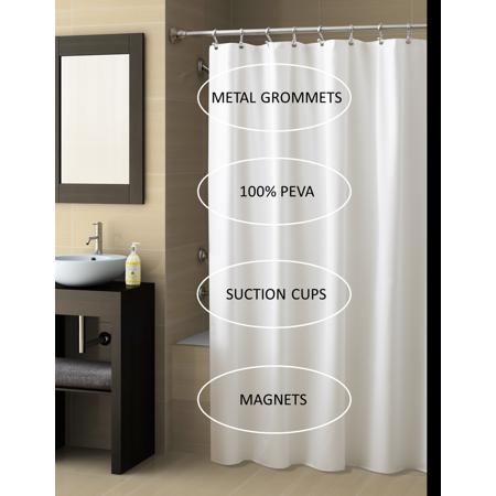 Better Homes & Gardens 7 Gauge PEVA Shower Liner, White, 1 Each