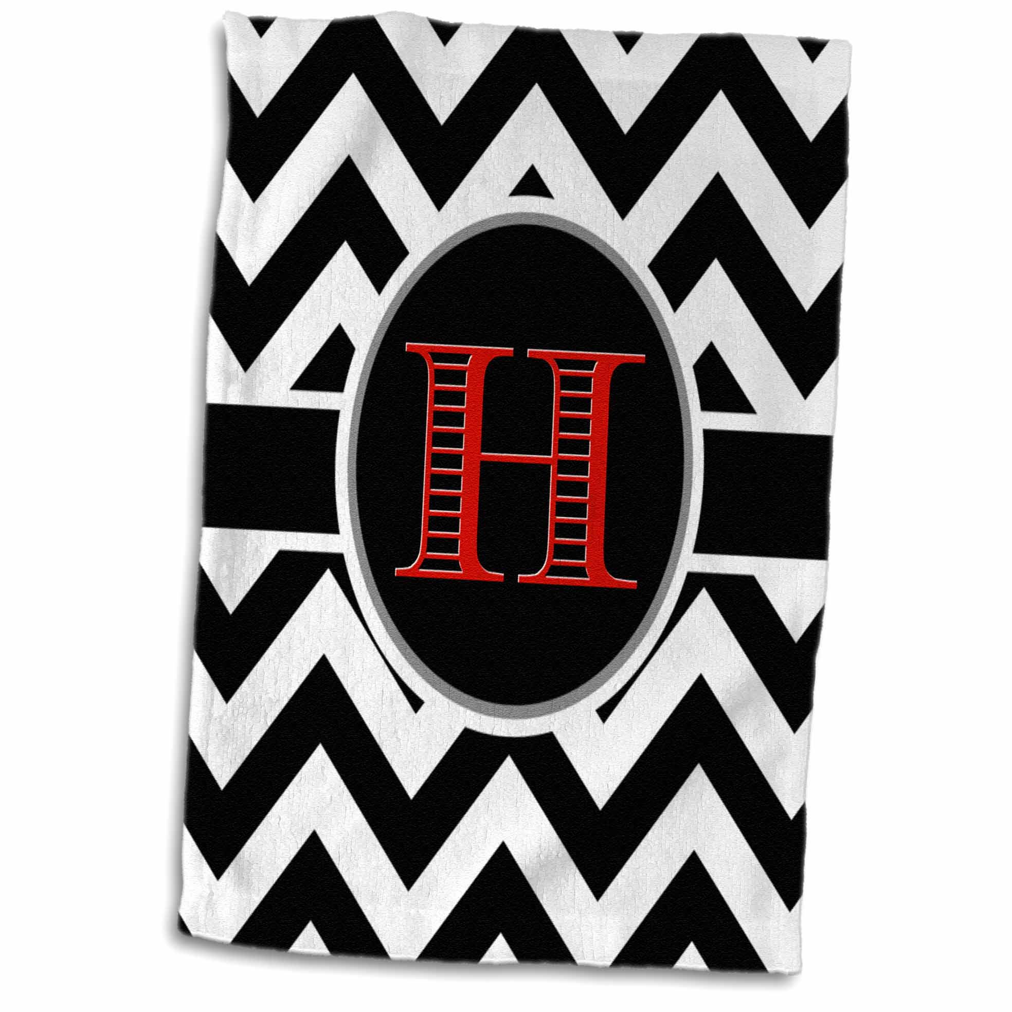 3dRose Black and white chevron monogram red initial H - Towel, 15 by 22-inch