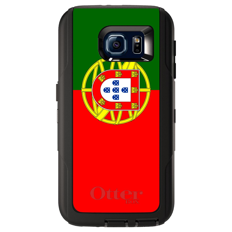 CUSTOM Black OtterBox Defender Series Case for Samsung Galaxy S6 Portugal Flag
