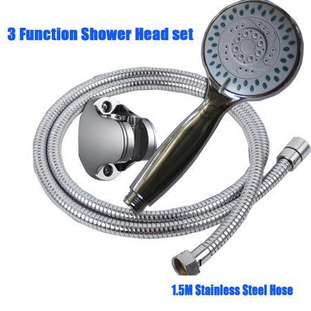 Chrome 3-Setting Hand Held Shower Massage Head Water Saving Multi-Function with 1.5m Hose and screws