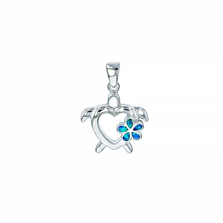 ZilverZoom Sterling Silver Blue Opal Plumeria Flower on Cutout Turtle Pendant 18