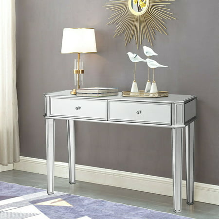 Costway 2 ed Vanity Make-Up Desk Silver Glass Console Dressing Table ()