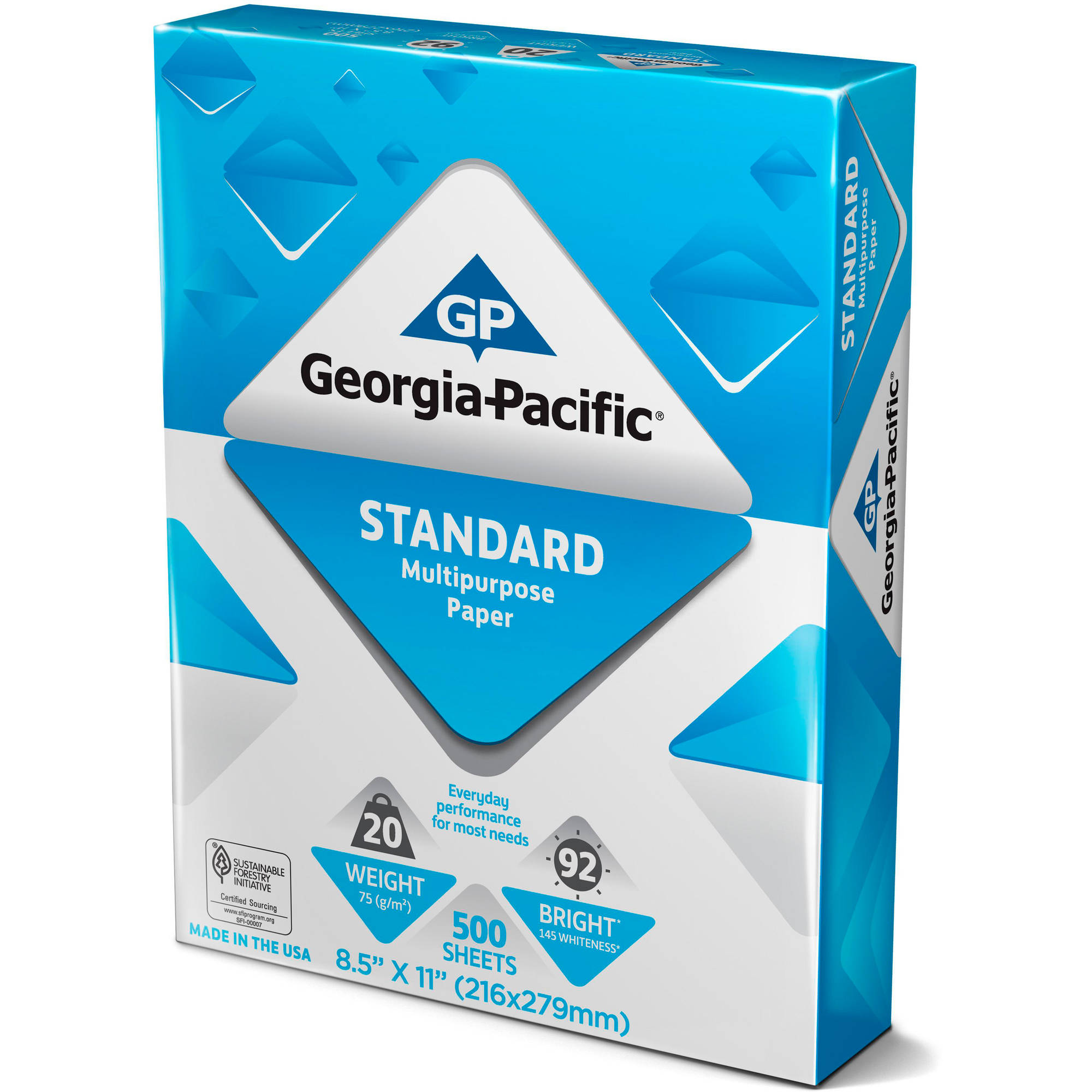 "Georgia-Pacific Standard Multipurpose Paper, 8.5"" x 11"", 20lb, 92 Brightness, 500 Sheets"