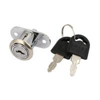 Home Office Showcase Cabinet Cylinder Push Plunger Lock w 2 Keys