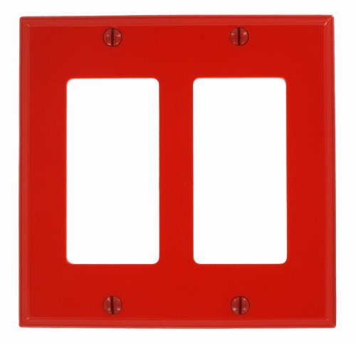 Leviton 80409-NR Red Nylon Two Gang Decora Wall Plate