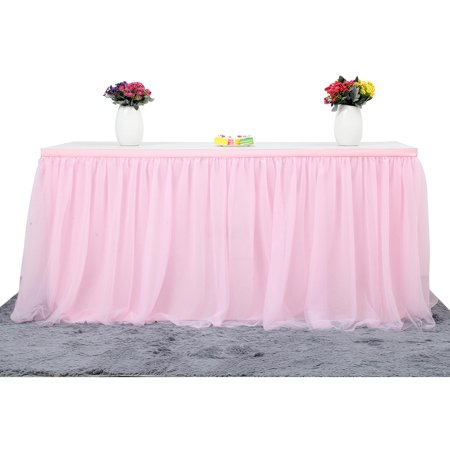 Large Size 72*30 Inch Handmade Tutu Tulle Mesh Table Skirt Cloth for Party Wedding Home Decoration, Pink - Pink Tutu Table Skirt