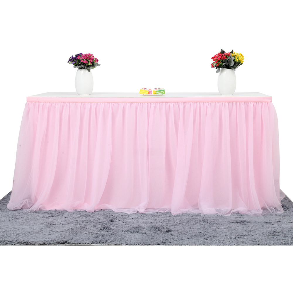 Large Size 72*30 Inch Handmade Tutu Tulle Mesh Table Skirt Cloth for Party Wedding Home Decoration, Pink