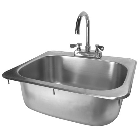 """ACE HS-1615IHG Standard Stainless Steel Drop-In Hand Sink with Deck Mount No Lead Faucet and Strainer, 16"""" x 15"""", ETL Certified."""