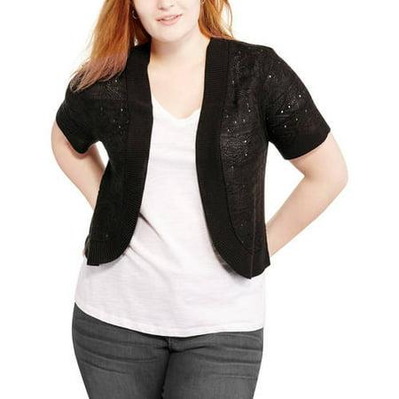 1fc1642efe08 Faded Glory - Women s Plus Short Sleeve Open Shrug Sweater - Walmart.com