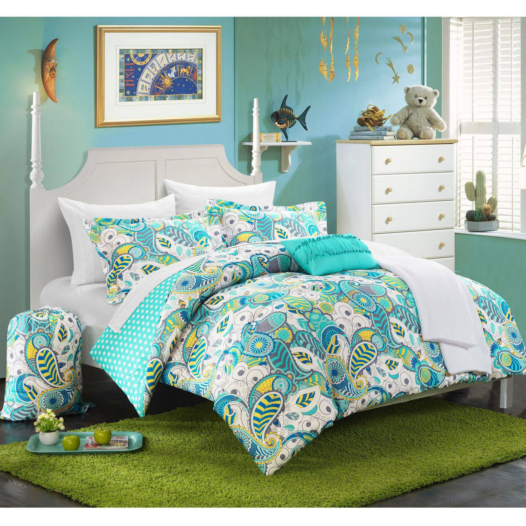 Blue polka dot bedding - Chic Home 10 Piece Duchess Paisley And Polka Dot Printed Reversible Comforter Set Walmart Com