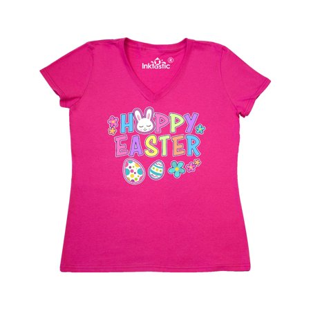 Bunny Faces - Happy Easter with Bunny Face and Easter Eggs Women's V-Neck T-Shirt
