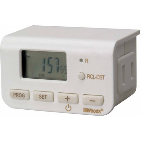Woods Indoor Digital 24-Hour Lamp Timer, Simple Set, 2-Conductor, 50027, White