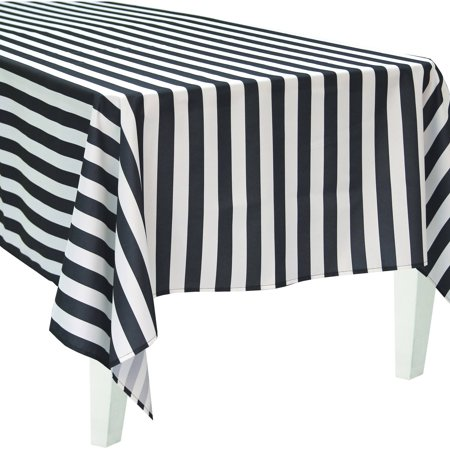 Table Striped (Bigbolo Black and White Striped Rectangular Polyester)
