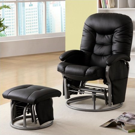 Awesome Coaster Company Peter Standard Leatherette Glider Recliner With Matching Ottoman Black Gmtry Best Dining Table And Chair Ideas Images Gmtryco