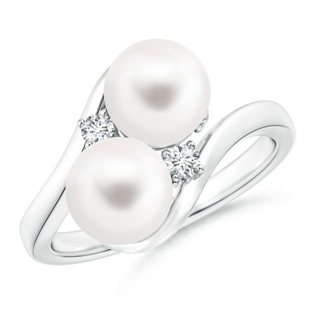 53e8457570e219 Angara - June Birthstone - Double FreshWater Cultured Pearl Bypass Ring  with Diamond Accents in 14K White Gold (7mm Freshwater Cultured Pearl) -  Walmart.com