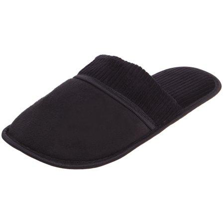 Enimay Men's Slippers House Shoes Slip On Padded Slides Soft Footbed 113 | Black (Birko Flor Soft Footbed)