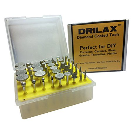 Drilax 50 Pcs Professional Quality High Density Diamond Drill Bit Burr Set Grit 120 50pc -Seaglass Rocks Ceramics Tile Glass Porcelain Jewelry Making Lapidary Engraving for Rotary Tools 1/8 Inch