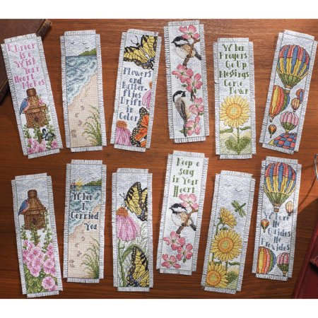 """Bucilla Inspired By Nature Bookmarks Counted Cross Stitch Kit, 2-1/2"""" x 8"""", 14 Count, Set Of 12"""