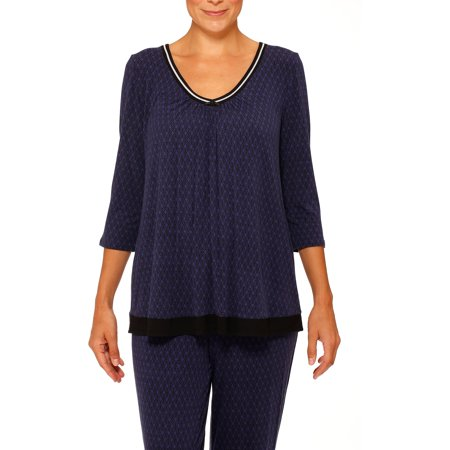 - Women's Plus 3/4 Sleeve V Neck Sleep Shirt