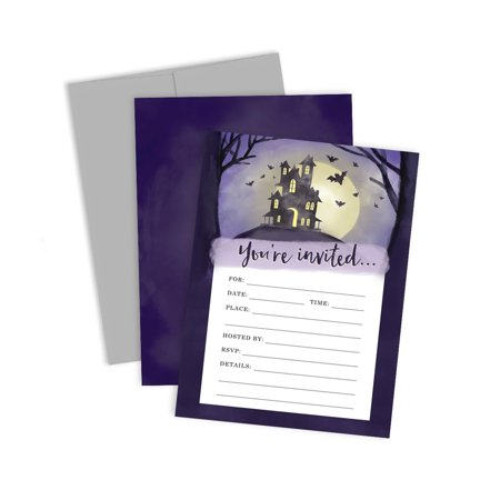 Spooky House Halloween Party Invitations - Set of 12 - Spooky Horse Halloween