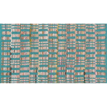 "Loloi Aiden 1'8"" x 3' Hand Woven Cotton Rug in Turquoise - image 1 of 1"