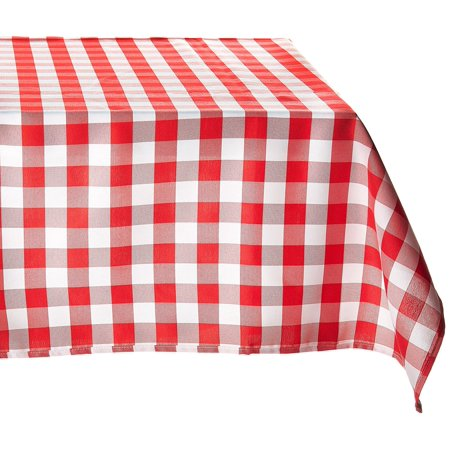 54-Inch Square Polyester Tablecloth Red & White Checker, 54 in. sides By LinenTablecloth - Black And White Checkered Tablecloths