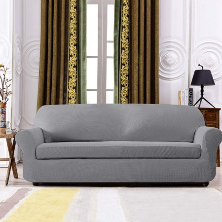 Subrtex 2-Piece Jacquard High Stretch Sofa Slipcover, Furniture Protector  for Sofa, Spandex Washable 3 Seater Cushion Couch Sofa Cover Coat (Sofa, ...